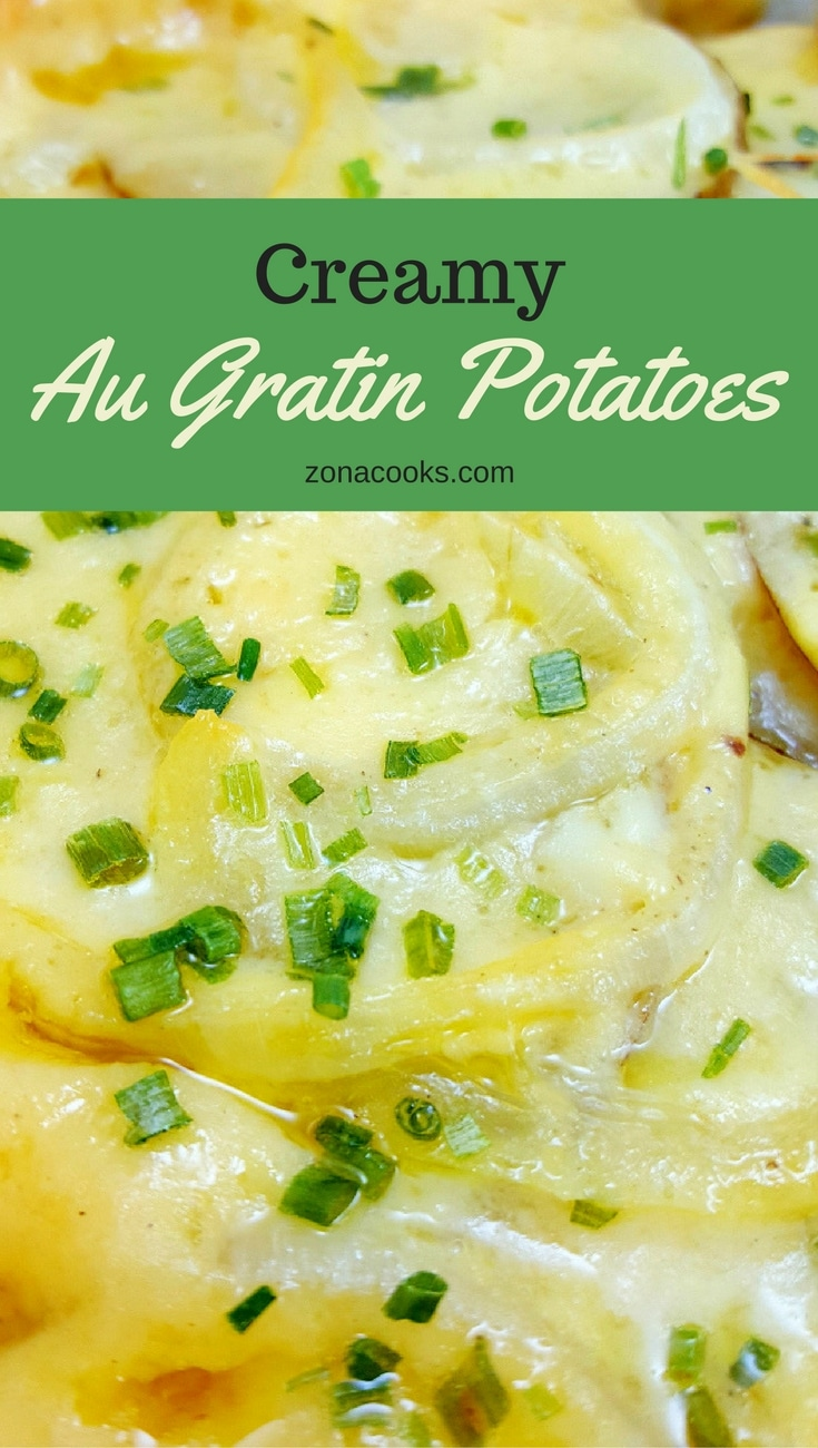 Au Gratin Potatoes - These Au Gratin Potatoes are deliciously creamy and cheesy. We really loved the added flavor of the onion baked inside. This recipe serves two people and could be cooked in individual dishes for a romantic dinner. Plan ahead as it takes 1 ½ hours to bake, but is so worth it!