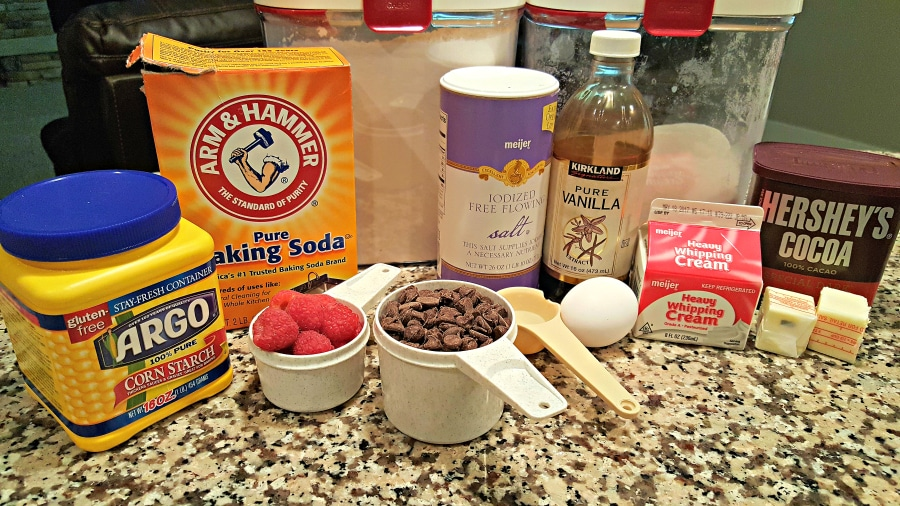Brownies with Raspberry Sauce and Chocolate Ganache ingredients