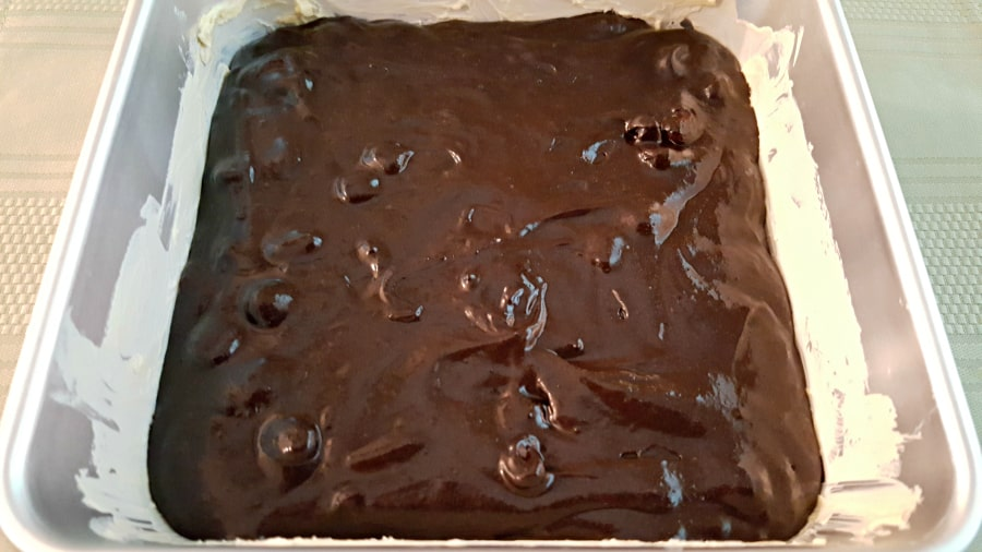 Brownies with Raspberry Sauce and Chocolate Ganache - brownie mix poured into the baking pan
