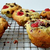 Raspberry Dark Chocolate Chip Banana Bread Muffins - delicious, great small batch muffins for dinner, lunch, snack or dessert!