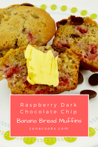 Raspberry Dark Chocolate Chip Banana Bread Muffins - I love the taste of fresh raspberries and chocolate together, especially dark chocolate. So why not put them together with banana bread ingredients and make the perfect muffin? These are perfect for breakfast, snacks, dessert, or as a side to your dinner.