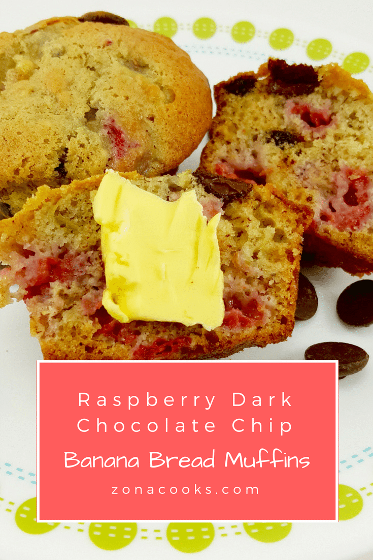 Raspberry Dark Chocolate Chip Banana Bread Muffins - I love the taste of fresh raspberries and chocolate together, especially dark chocolate. So why not put them together with banana bread ingredients and make the perfect muffin? These are perfect for breakfast, snacks, or as a side to your dinner.
