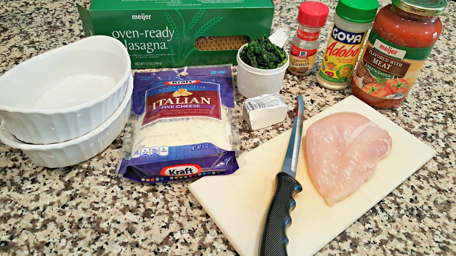 Grilled Mexican Seasoned Chicken and Spinach Individual Lasagna - ingredients