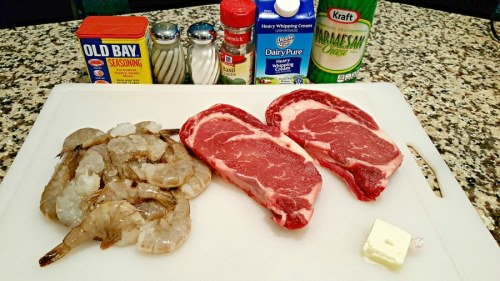 Ribeye Steak and Shrimp with Parmesan Sauce for Two - ingredients