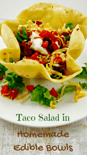 Taco Salad in Edible Bowls for Two - If you love Taco Salad in a delicious homemade deep fried crispy golden brown edible tortilla bowl, this is the recipe for you! This is the perfect summer time, or any time, dinner for two. It's easy and quick to prepare and the flavor combination is amazing.