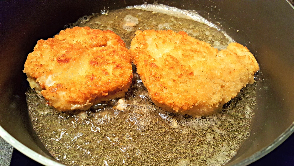 Chicken Parmesan Recipe for Two - fry chicken 5 minutes on each side