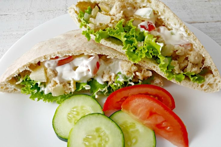 Gyro Style Pitas for Two - with cucumber and tomato dressing