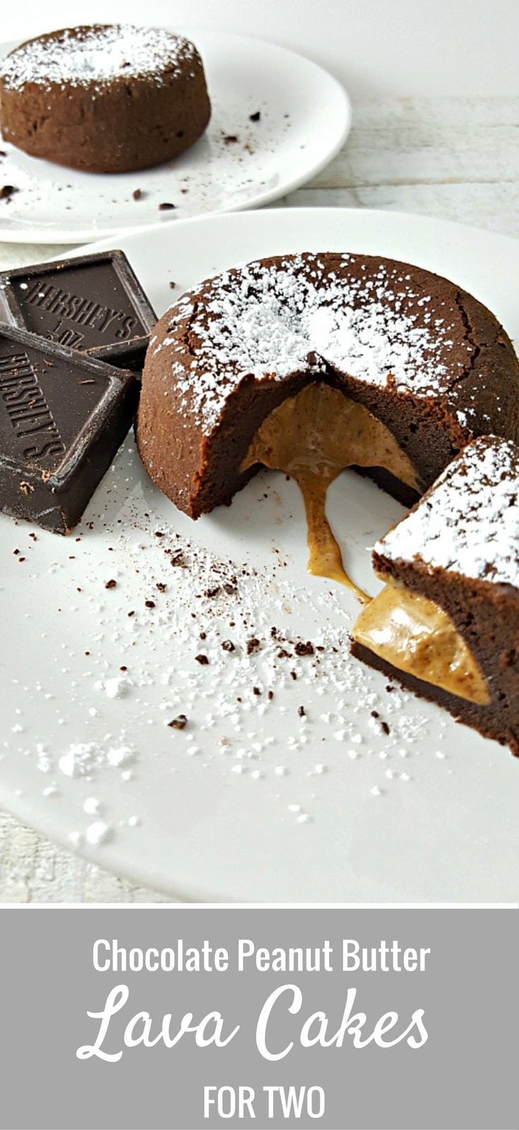 Chocolate Peanut Butter Lava Cakes Recipe for Two - Chocolate and Peanut Butter are the ultimate power couple and these are an incredibly delicious dessert. Moist chocolate cake is filled with sweetened ooey gooey cinnamon peanut butter. Pour yourself a nice glass of milk to go with it. This recipe is sure to impress your special someone on date night, Valentine's Day, or every day!