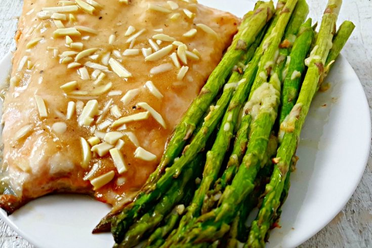 Honey Dijon Almond Salmon and Asparagus Recipe - baked in one pan for two!
