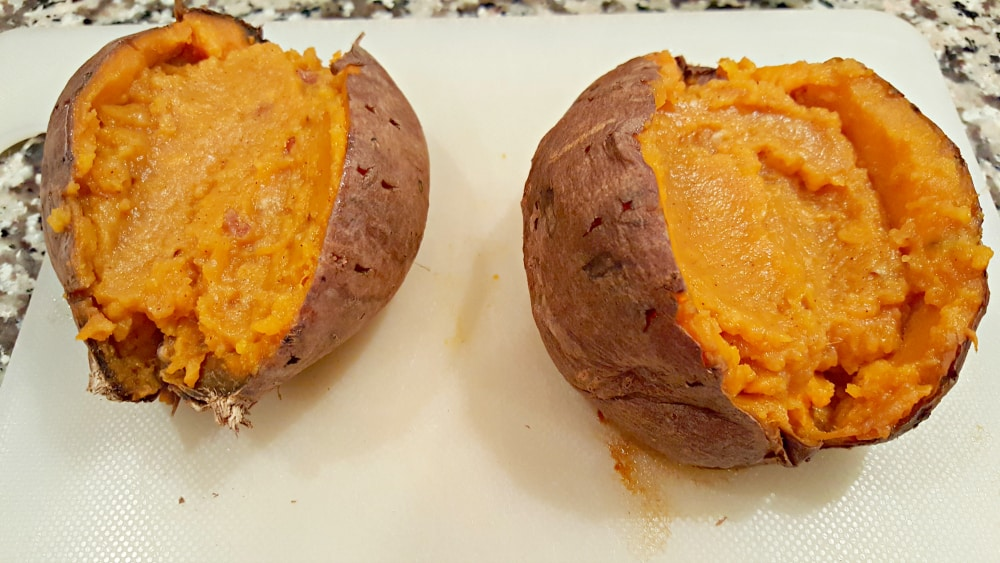 Stuffed Sweet Potatoes with Pecan Marshmallow Streusel Recipe - mix half the streusel into the cooked potato filling