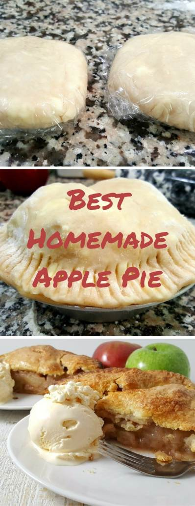 Best Homemade Apple Pie, has an easy, no-fail, buttery, flaky homemade pie crust and filled with two types of apples and the perfect mix of spices. This recipe serves 2 and makes one 6 inch apple pie. To make a 9 inch pie, adjust the serving to 2 on the recipe card.