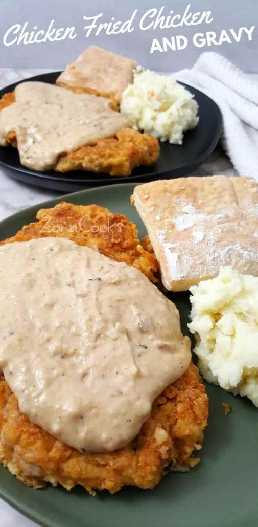 Chicken Fried Chicken and Gravy has juicy, tender, seasoned crispy oven baked breaded chicken smothered in white southern style milk and pepper gravy. This small batch comfort food recipe serves 2 and makes a great lunch or date night dinner. #chicken #friedchicken #chickenfried #dinnerfortwo #lunchfortwo #recipesfortwo #cookingfortwo #smallbatch