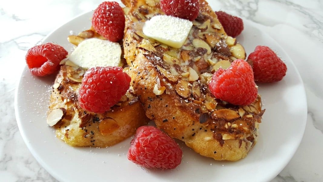 Almond Raspberry French Toast Recipe for Two - great for breakfast, lunch, or dinner!