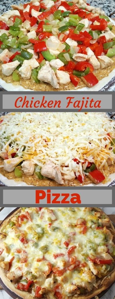 This Chicken Fajita Pizza recipe is packed full of diced chicken, green pepper, red pepper, onion and cheese layered on top of a slightly sweet white barbecue and cumin sauce. We love pizza and we love Mexican food so why not combine the two? This recipe makes a small 12 inch pizza perfect for a filling week night or date night dinner, or weekend lunch for two. #chicken #fajita #pizza #dinnerfortwo #recipesfortwo #datenight #smallbatch
