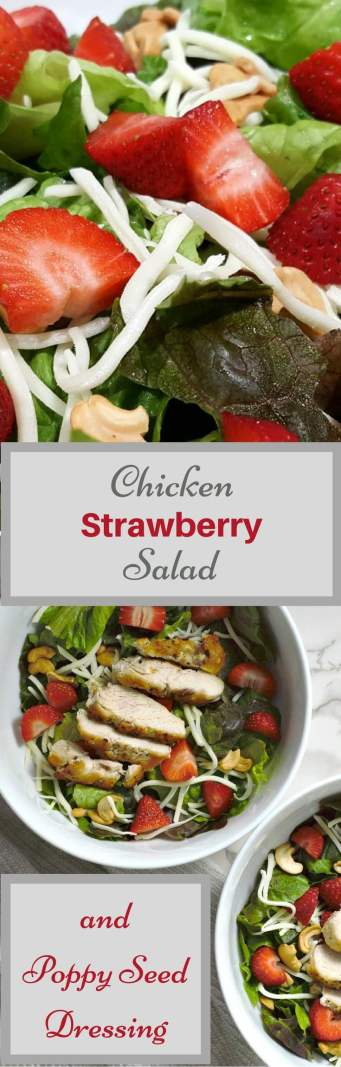 This Chicken Strawberry Salad with homemade Poppy Seed Dressing is delicious with romaine lettuce, golden brown chicken, cashews, sweet strawberries, and mozzarella. Also known as Riviera Salad, it became a favorite after my sister served it at a family gathering. This is a small batch version just right to serve two people for lunch or dinner. #salad #RivieraSalad #DinnerForTwo #LunchForTwo #RecipesForTwo #chicken #strawberries