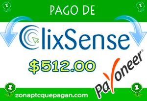 Pago de Clixsense $512.00 Payoneer