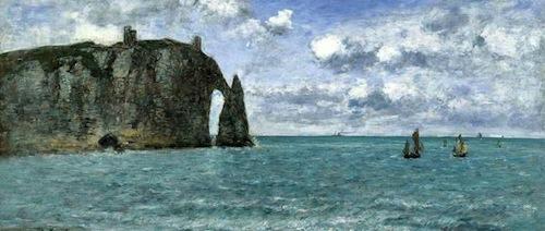 Eugène Boudin. Étretat. El acantilado de Aval. 1890. Óleo sobre lienzo. 79,9 x 109,9 cm.