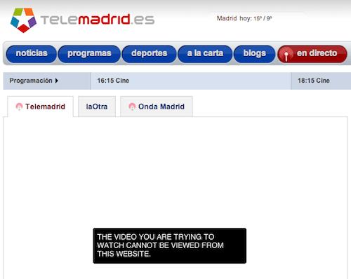 Captura de pantalla de la web de Telemadrid