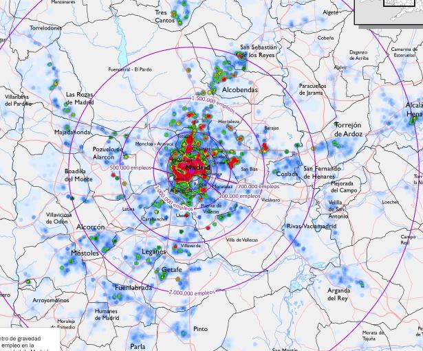 Distribución del empleo en el área metropolitana de Madrid