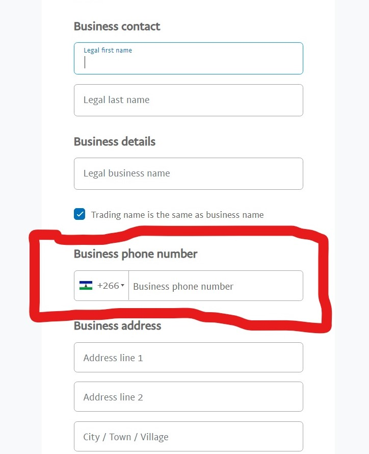 PayPal Business information