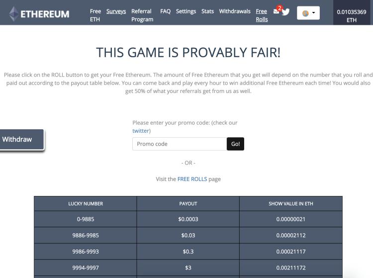 gagner ethereum faucet gratuitement