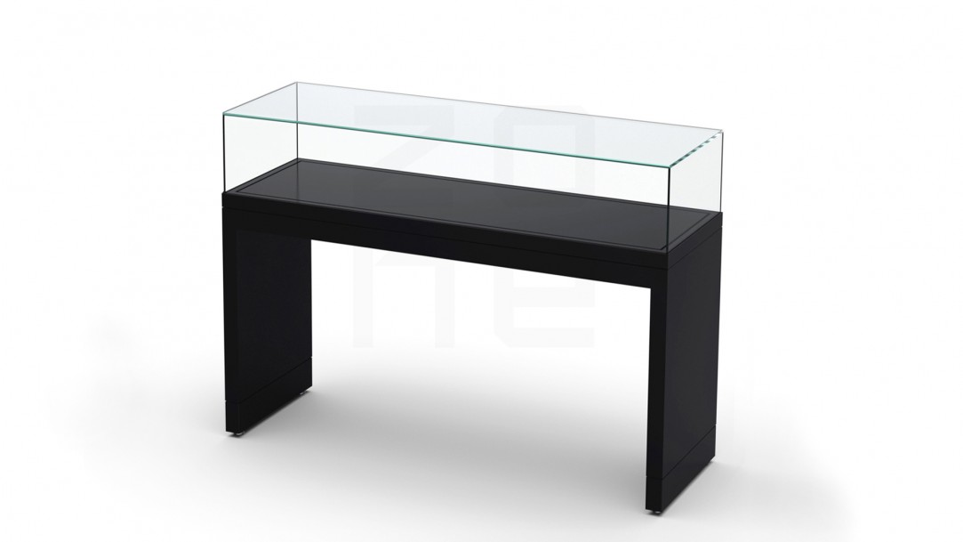 vitrine table sur supports lateraux