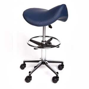 Saddle Stool Premium with Foot Ring Navy Blue