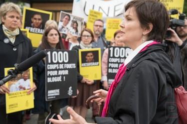 Béatrice Vaugrante, directrice d'Amnistie internationale section Canada francophone, lors d'une manifestation en soutien à Raif Badawi