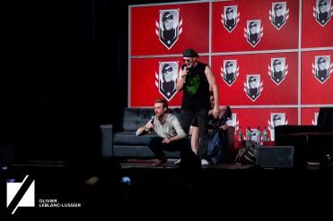 Sean Gunn interprète Rocket sur le plateau de tournage et Michael Rooker fait comme s'il était Chris Pratt
