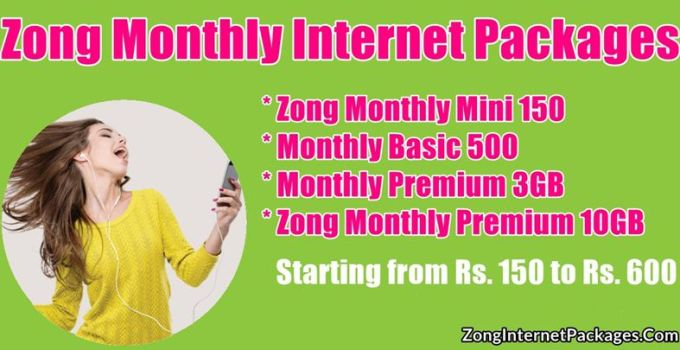 Zong Monthly Internet Packages