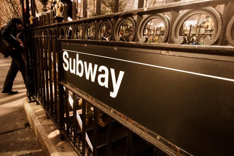 Vintage style subway entrance, New York City