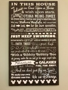 We Do Disney house rules wood sign