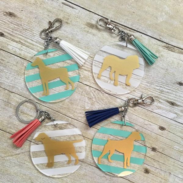 dog breed keychains acrylic striped tassel