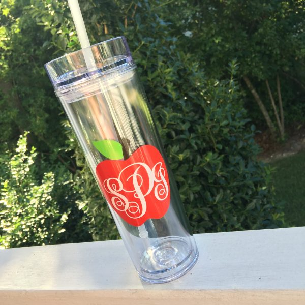 apple monogram teacher skinny tumbler