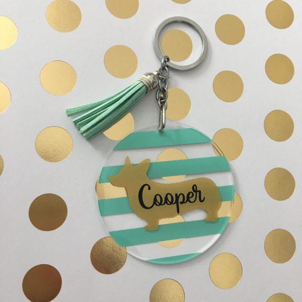 Corgi striped keychain
