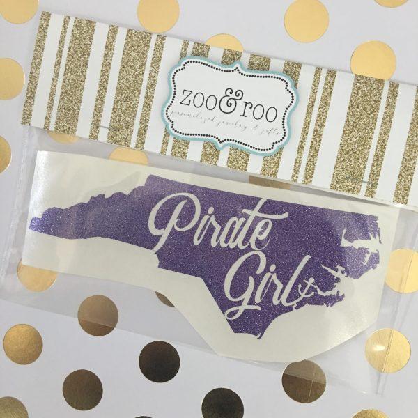 Pirate Girl NC purple glitter decal ECU