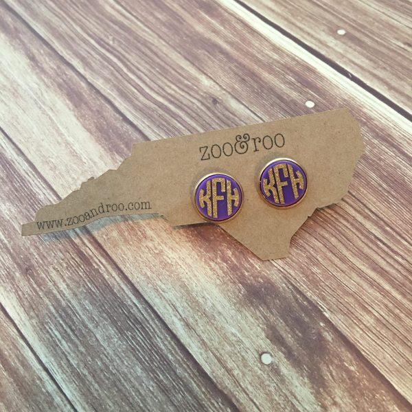 purple & gold glitter monogram earrings acrylic mardi gras