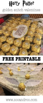 Harry Potter golden snitch valentines with free printable