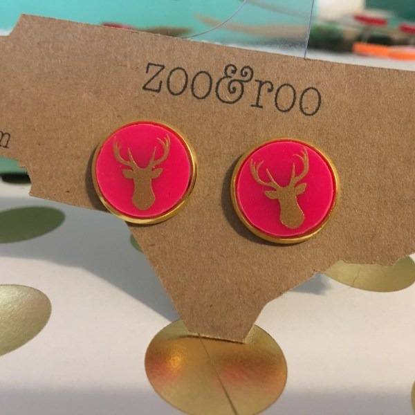 deer earrings hot pink gold bezel