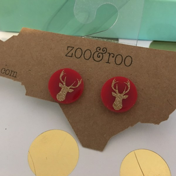 deer earrings red gold glitter