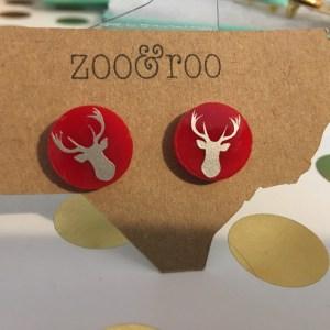 deer earrings red silver