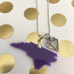 necklace acrylic NC purple diamond