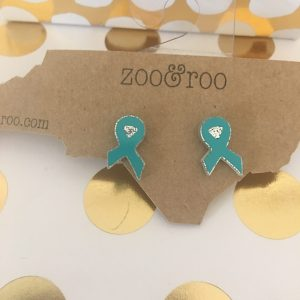 teal ribbon earrings