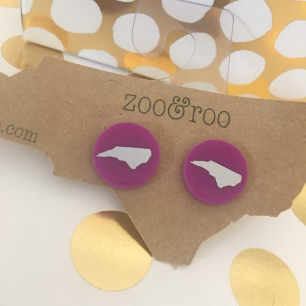 violet earrings with silver NC