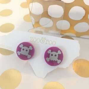 violet skull earrings