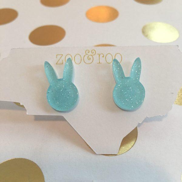 aqua glitter bunny earrings acrylic by zoo&roo