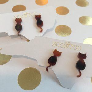 Cat acrylic earrings in faux tortoise by zoo&roo