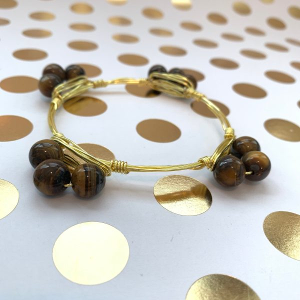 3 bead tiger eye wire wrapped bangle bracelet