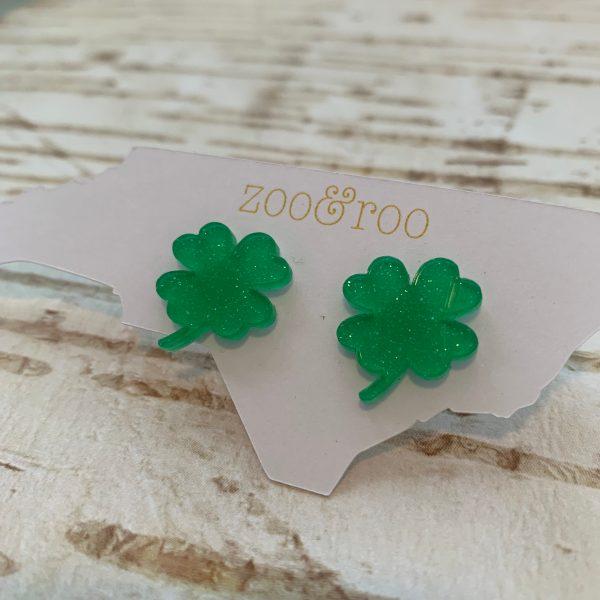shamrock earrings green glitter large by zoo&roo