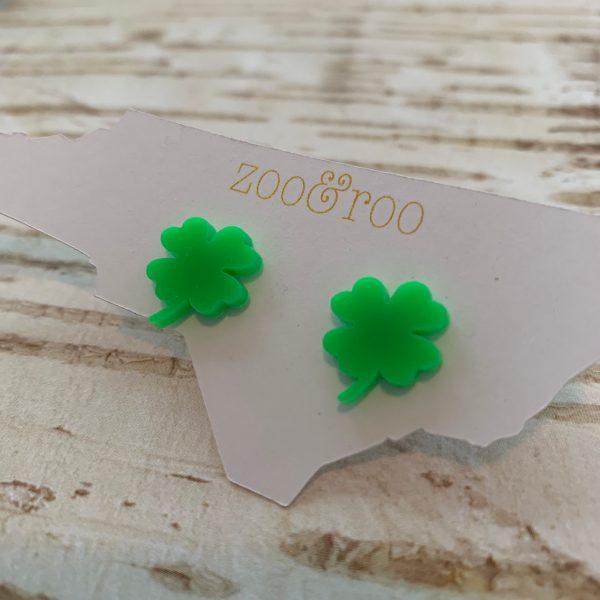 shamrock earrings neon green by zoo&roo